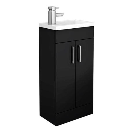 Kobe Cloakroom Floor Standing Unit with Resin Basin W400 x D250mm - Gloss Black