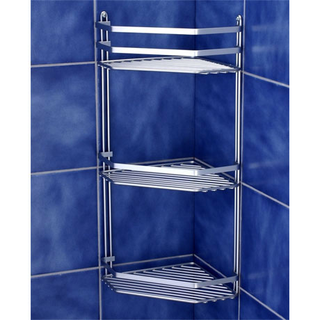 Satina Bathroom Corner Basket Tidy - Triple Tier - Chrome - 57690 profile large image view 2