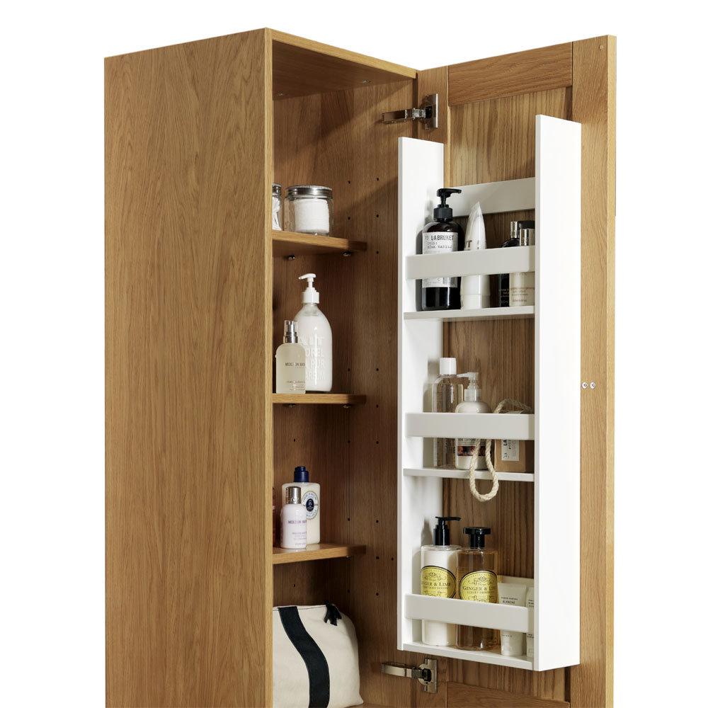 Miller - New York Tall Cabinet with Door Storage - Oak In Bathroom Large Image