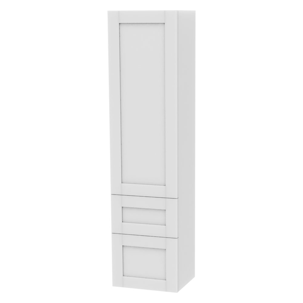 Miller - London Tall Cabinet with Door Storage & Drawers - White Large Image