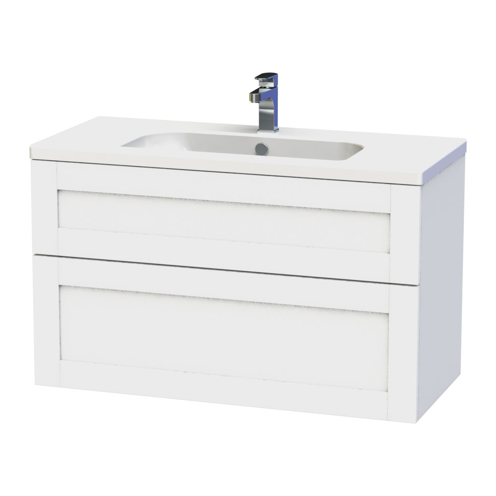 Miller - London 100 Wall Hung Two Drawer Vanity Unit with Ceramic Basin - White Large Image