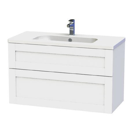 Miller - London 100 Wall Hung Two Drawer Vanity Unit with Ceramic Basin - White
