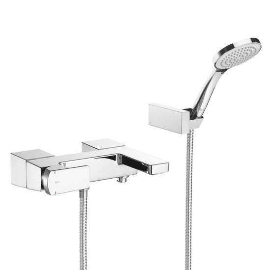 Roca L90 Chrome Wall Mounted Bath Shower Mixer & Kit - 5A0101C00 profile large image view 1