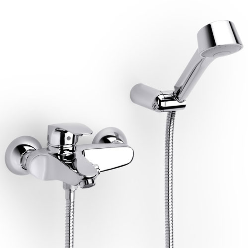 Roca Monodin-N Chrome Wall Mounted Bath Shower Mixer & Kit - 5A0107C02 Large Image