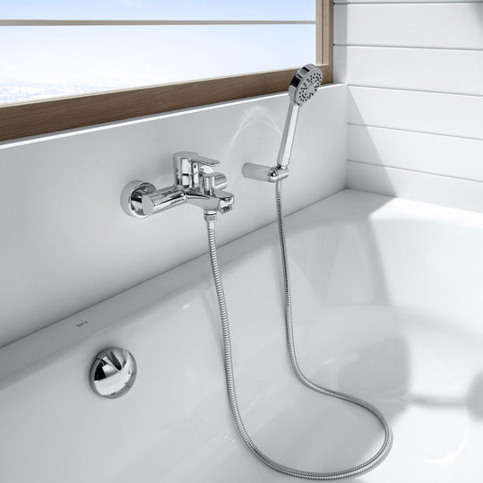 Roca L20 Chrome Wall Mounted Bath Shower Mixer & Kit - 5A0109C02 profile large image view 2