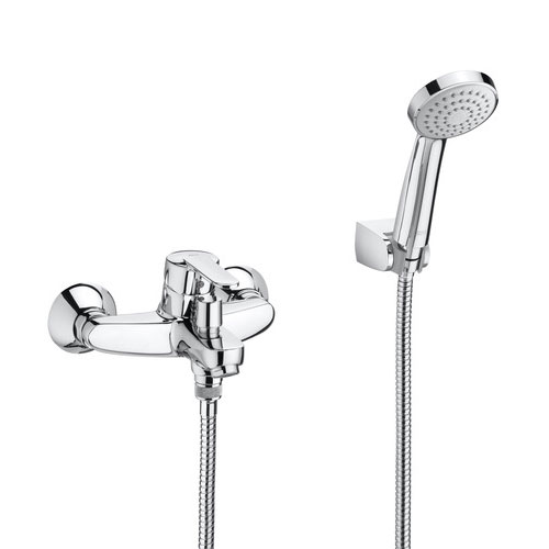 Roca Victoria V2 Chrome Wall Mounted Bath Shower Mixer & Handset - 5A0125C02 Large Image