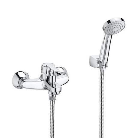 Roca Victoria V2 Chrome Wall Mounted Bath Shower Mixer & Handset - 5A0125C02