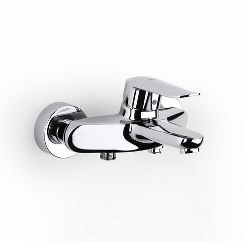 Roca Logica-N Chrome Wall Mounted Bath Shower Mixer & Handset - 5A0127C00 profile large image view 2
