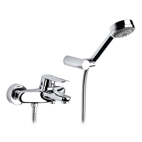 Roca Logica-N Chrome Wall Mounted Bath Shower Mixer & Handset - 5A0127C00 Large Image