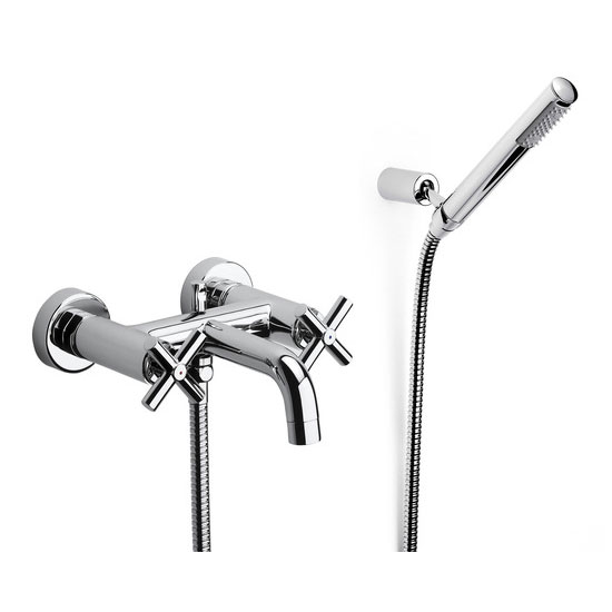 Roca Loft Chrome Wall Mounted Bath Shower Mixer & Kit - 5A0143C00 Large Image