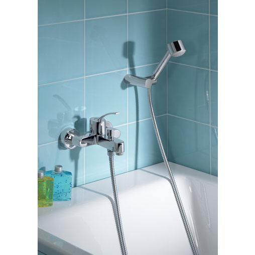 Roca Moai Chrome Wall Mounted Bath Shower Mixer & Kit - 5A0146C00 profile large image view 2