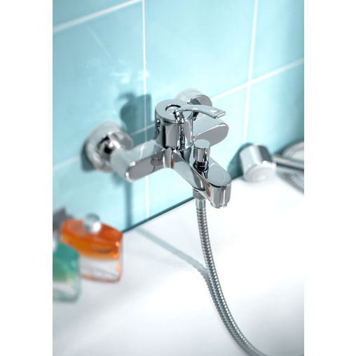 Roca Moai Chrome Wall Mounted Bath Shower Mixer & Kit - 5A0146C00 profile large image view 3