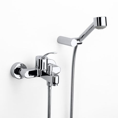 Roca Moai Chrome Wall Mounted Bath Shower Mixer & Kit - 5A0146C00 profile large image view 1