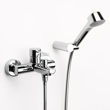 Roca Targa Chrome Wall Mounted Bath Shower Mixer & Kit - 5A0160C00 Large Image
