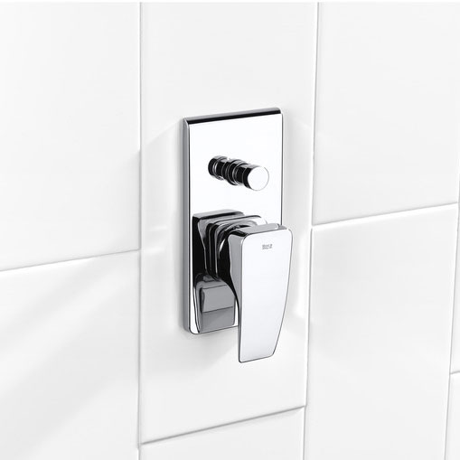 """Roca Thesis Chrome 1/2"""" Built-in Bath Shower Mixer with Automatic Diverter - 5A0650C00 profile large image view 2"""