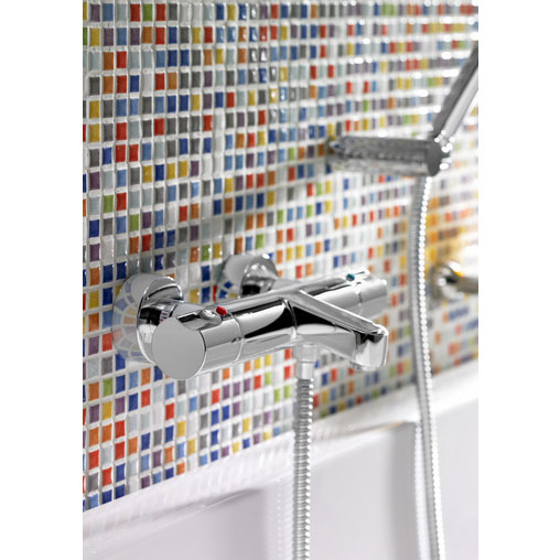 Roca Moai Chrome Wall Mounted Thermostatic Bath Shower Mixer & Kit - 5A1146C00 profile large image view 3