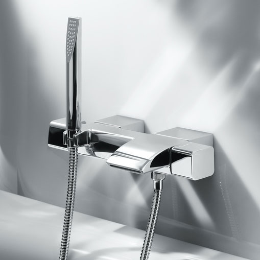 Roca Thesis Chrome Wall Mounted Thermostatic Bath Shower Mixer & Kit - 5A1150C00 profile large image view 2