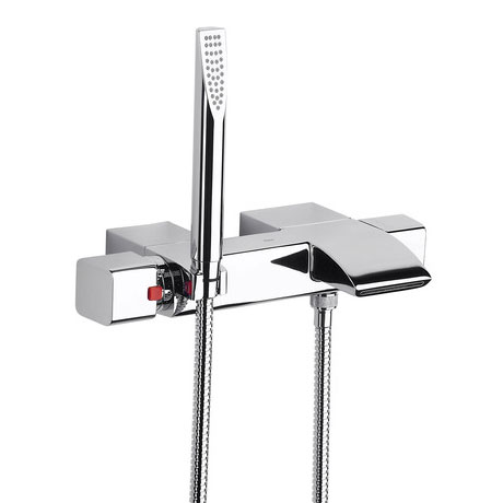 Roca Thesis Chrome Wall Mounted Thermostatic Bath Shower Mixer & Kit - 5A1150C00 Large Image