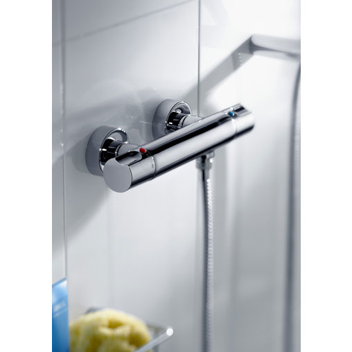 Roca Moai Chrome Wall Mounted Thermostatic Shower Mixer & Kit - 5A1346C00 profile large image view 4
