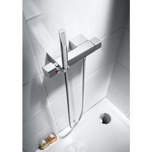 Roca Thesis Chrome Wall Mounted Thermostatic Shower Mixer & Kit - 5A1350C00 profile large image view 2