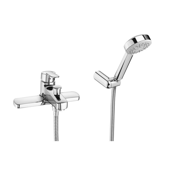 Roca Victoria V2 Chrome Deck Mounted Bath Shower Mixer & Handset - 5A1825C00 Large Image