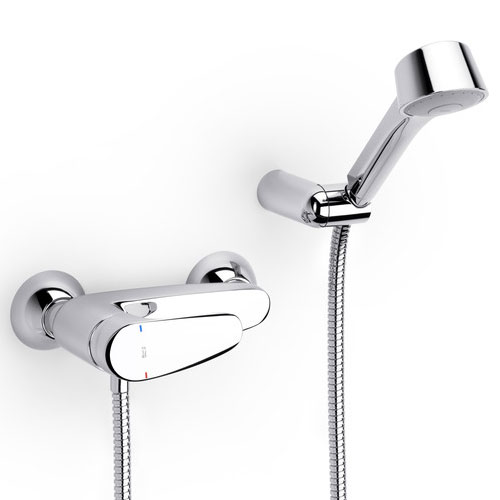 Roca Monodin-N Chrome Wall Mounted Shower Mixer & Kit - 5A2007C02 Large Image
