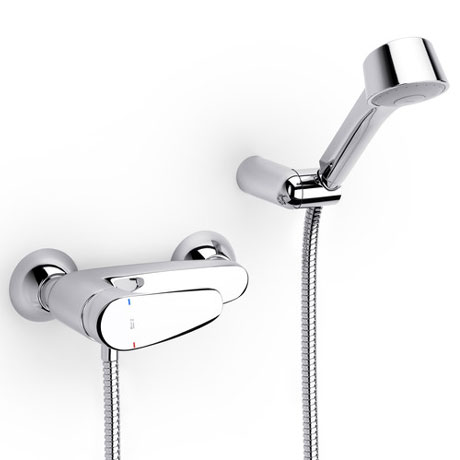 Roca Monodin-N Chrome Wall Mounted Shower Mixer & Kit - 5A2007C02