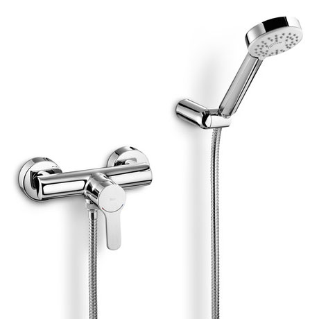 Roca L20 Chrome Wall Mounted Shower Mixer & Kit - 5A2009C00 Large Image