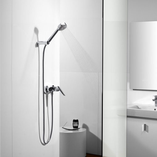 Roca Logica-N Chrome Wall Mounted Shower Mixer & Handset - 5A2027C00 profile large image view 3
