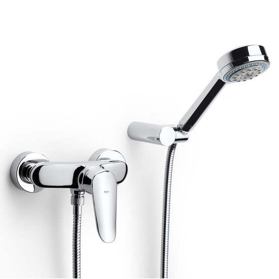 Roca Logica-N Chrome Wall Mounted Shower Mixer & Handset - 5A2027C00 Large Image