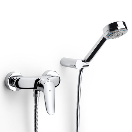 Roca Logica-N Chrome Wall Mounted Shower Mixer & Handset - 5A2027C00