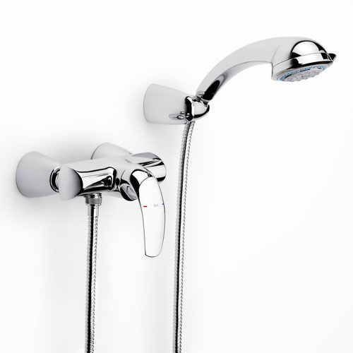 Roca M2-N Chrome Wall Mounted Shower Mixer & Kit - 5A2068C00 profile large image view 1