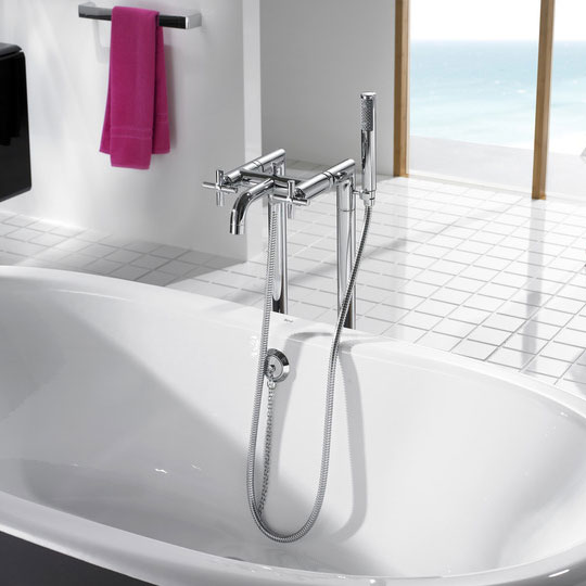 Roca Loft Chrome Floorstanding Bath Shower Mixer with Standpipes & Kit - 5A2743C00 Profile Large Image