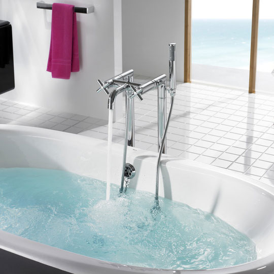 Roca Loft Chrome Floorstanding Bath Shower Mixer with Standpipes & Kit - 5A2743C00 Feature Large Image