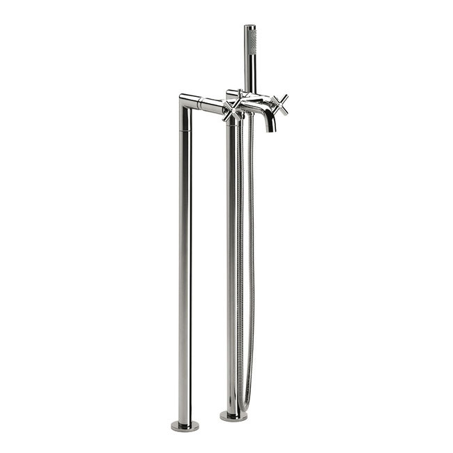 Roca Loft Chrome Floorstanding Bath Shower Mixer with Standpipes & Kit - 5A2743C00 Large Image