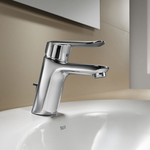 Roca Logica-N Chrome Basin Mixer with Pop-up Waste - 5A3027C00 profile large image view 2
