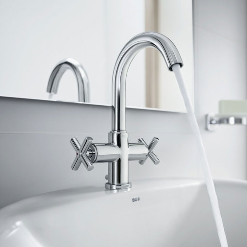 Roca Loft Chrome Basin Mixer Tap with Pop-up Waste - 5A3043C00 profile large image view 2