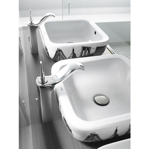 Roca Urban Chrome Extended Basin Mixer with Pop-up Waste - 5A3404C00 profile large image view 2
