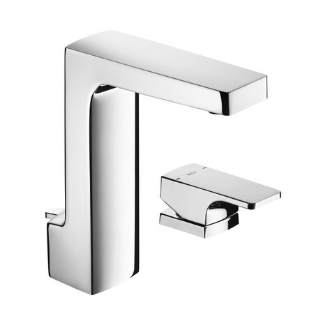 Roca L90 Chrome Deck Lever Basin Mixer with Pop-up Waste - 5A3801C00 Large Image