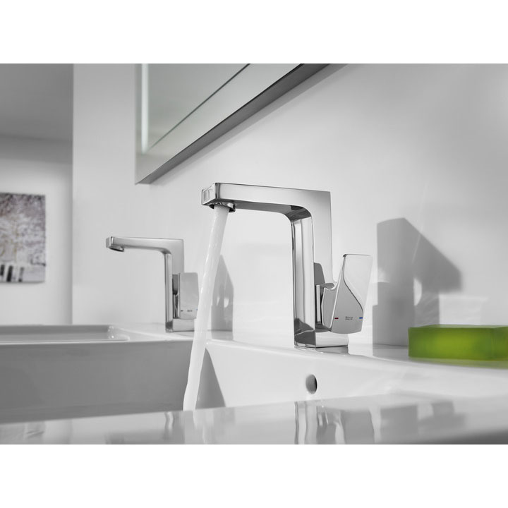 Roca L90 Chrome Side Lever Basin Mixer Tap with Pop-up Waste - 5A4001C00 Profile Large Image