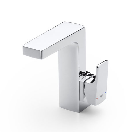 Roca L90 Chrome Side Lever Basin Mixer Tap with Pop-up Waste - 5A4001C00 Large Image