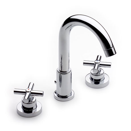 Roca Loft Chrome Deck Mounted 3 Hole Basin Mixer & Pop-up Waste - 5A4443C00 Large Image