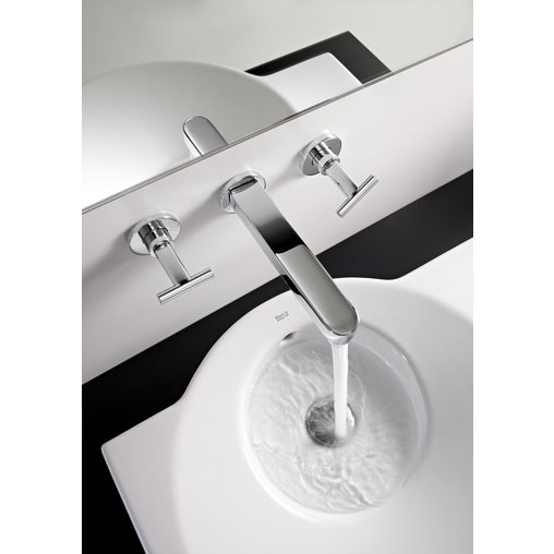 Roca Moai Chrome Wall Mounted 3 Hole Basin Mixer with 180mm Spout - 5A4646C00 profile large image view 2