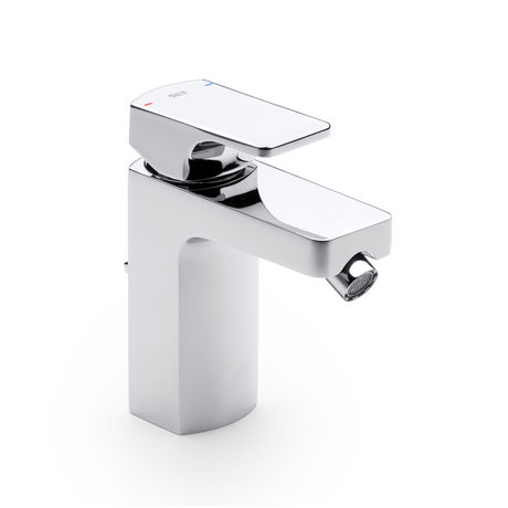 Roca L90 Chrome Bidet Mixer with Pop-up Waste - 5A6001C00 profile large image view 1