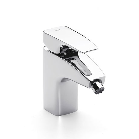 Roca Thesis Chrome Bidet Mixer with Pop-up Waste - 5A6050C00 Large Image