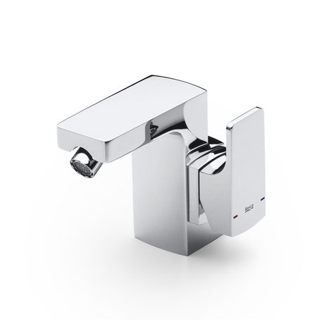 Roca L90 Chrome Side Lever Bidet Mixer with Pop-up Waste - 5A6301C00 Large Image