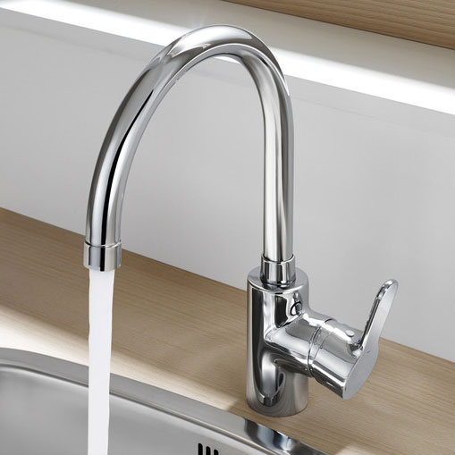 Roca L20 Chrome Kitchen Sink Mixer with Swivel Spout - 5A8409C00 profile large image view 2