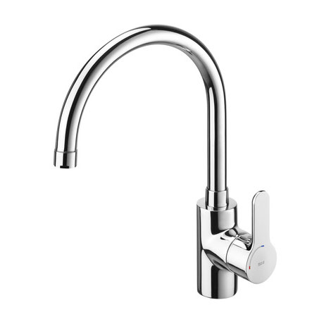 Roca L20 Chrome Kitchen Sink Mixer with Swivel Spout - 5A8409C00