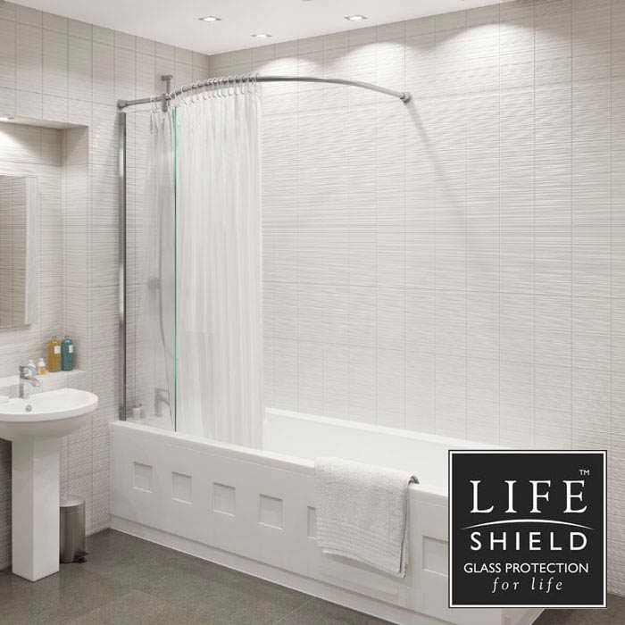 KUDOS Inspire Over Bath Shower Panel with Bow Corner Rail profile large image view 1