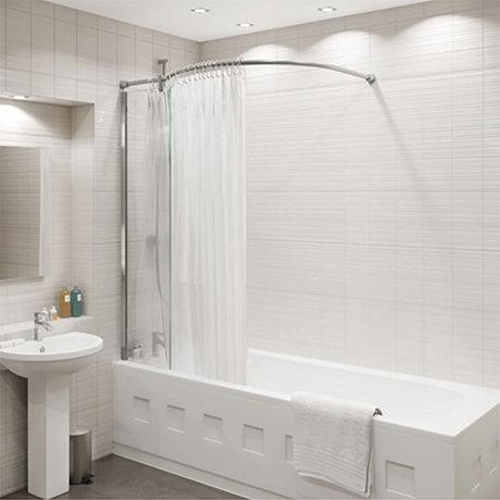 KUDOS Inspire Over Bath Shower Panel with Bow Corner Rail